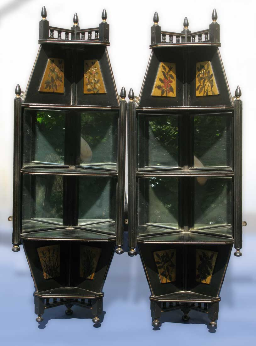 Pair Of Aesthetic Ebonized Hanging Corner Shelves Circa 1875